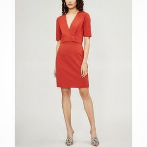 Reiss Rebecca Short Sleeve Fitted Sheath Dress Red